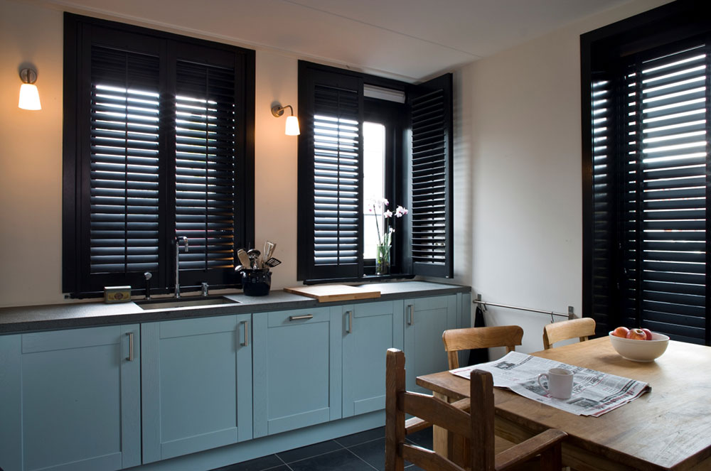 Keukenraam shutters zwart